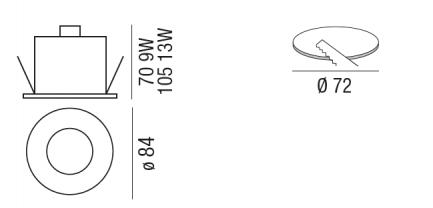 Faretto per bagno e ambienti umidi Kit LED Beautylight Cromo 12W  - 3